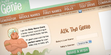 Screenshot of Baby Name Genie dot com